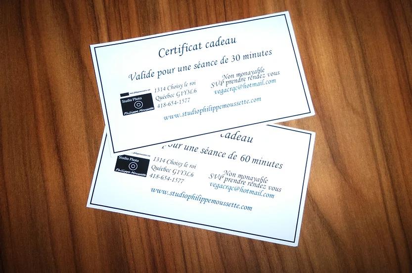 certificat cadeau pour séance de 30 ou 60 minutes